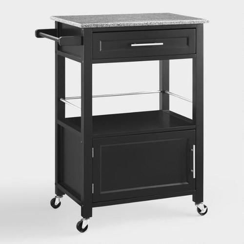 Black Wood and Granite Top Ade Kitchen Cart