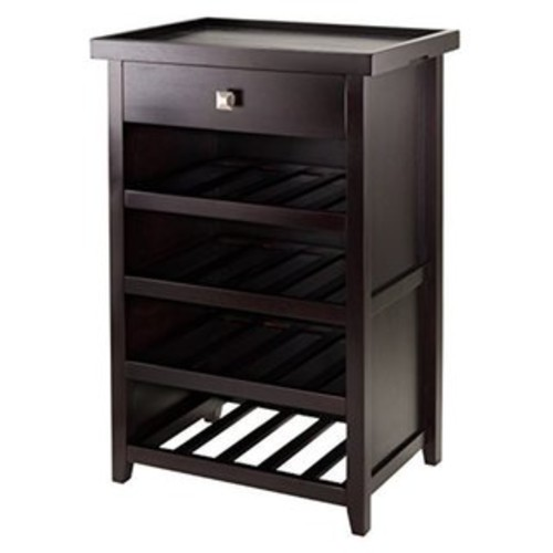 Zillah Espresso Wood Finish Wine Cabinet with Removable Tray