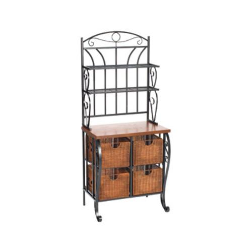 SEI Iron/Wicker Oak Laminate Storage Baker's Rack, Black