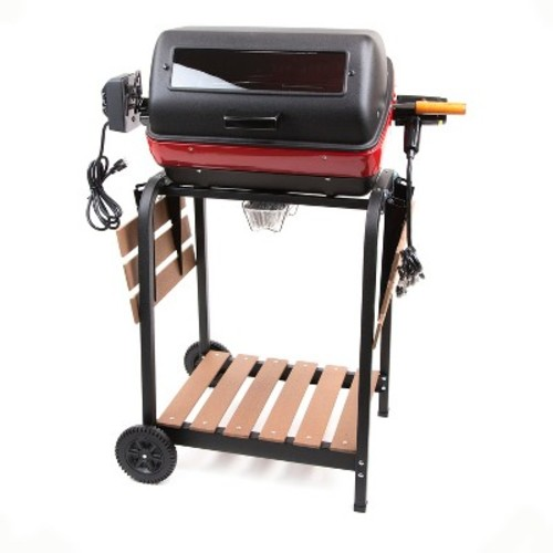 Easy Street Electric Cart Grill with two folding, composite-wood side tables, shelf and rotisserie [Satin Black, 200 sq. in.]