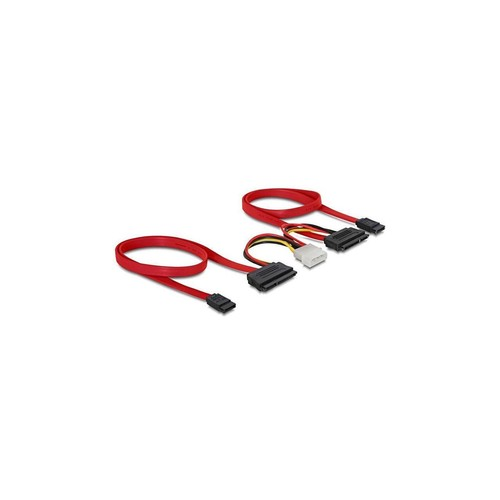 Delock SATA All-in-One cable for 2 x HDD connect 2 SATA drives to the mainboard