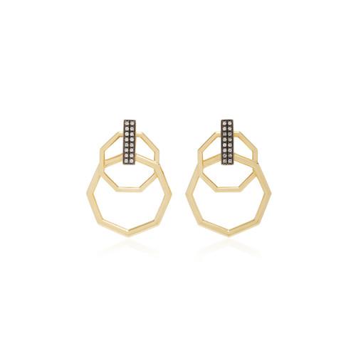 18K Gold Double Hoop Diamond Earrings