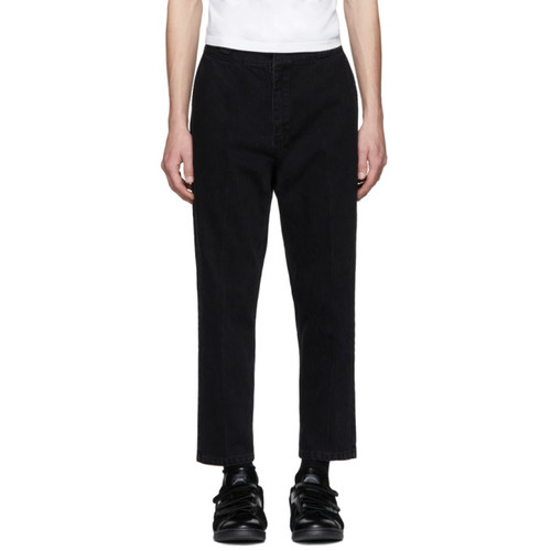 ALEXANDER WANG Black Creased Cropped Jeans