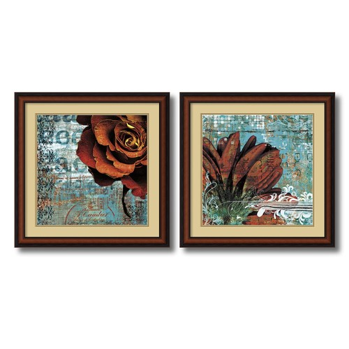 Amanti Art 'Graffiti Rose and Gerbera' by Christina Lazar Schuler 2 Piece Framed Graphic Art Set