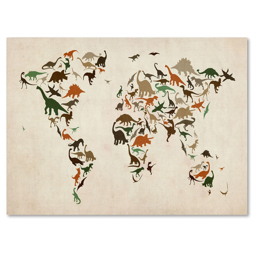 Trademark Global Michael Tompsett 'Dinosaur World Map 2' Canvas Art [Overall Dimensions : 14x19]