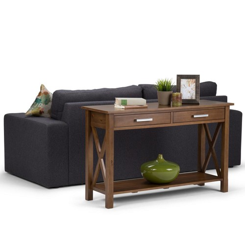 Simpli Home Kitchener Medium Saddle Brown Storage Console Table