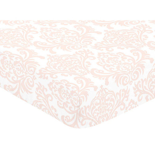 Sweet Jojo Designs Amelia Collection Multicolor Cotton Damask Print Fitted Crib Sheet