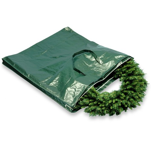 Heavy Duty Wreath and Garland Storage Bag with Handles & Zipper-Fits up to 4' Decorated Wreath