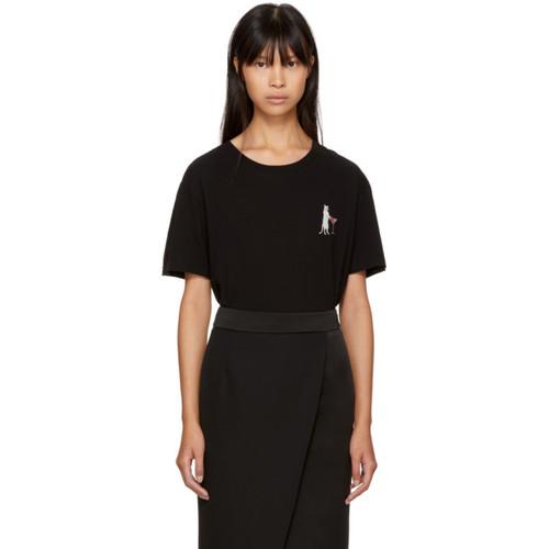 SAINT LAURENT Black Martini Cat T-Shirt