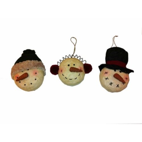 Craft Outlet Snowman Head Ornament (Set of 6)