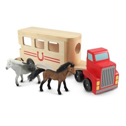 Melissa & Doug Horse Carrier Wooden Vehicle Play Set With 2 Flocked Horses and Pull-Down Ramp