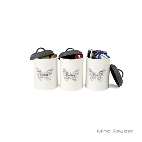 Mind Reader Sugar, Tea And Coffee Metal 3-Piece Canister Set, White