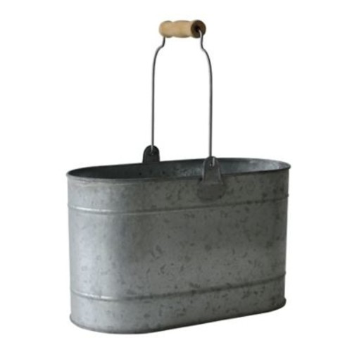 Cheungs Oval Galvanized Bucket w/ Metal Handles and Wood Grip