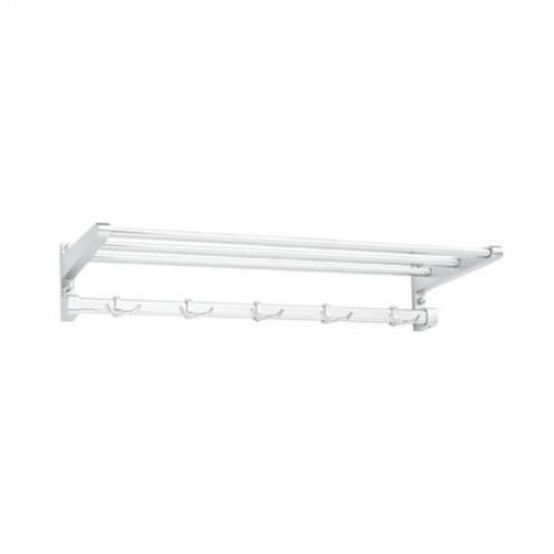 Aluminum Hat and Coat Rack with Shelf and 5 Hooks