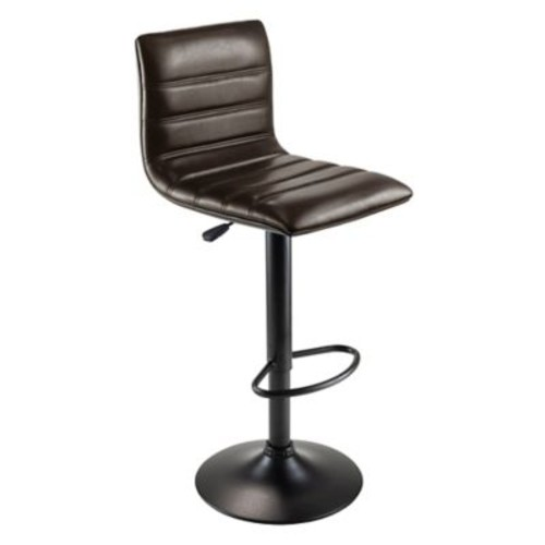 Winsome Holly Triple Stitch Faux Leather Airlift Adjustable Stool, Dark Espresso