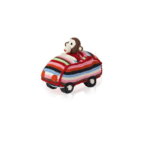 Animal Car Chimp Crochet Toy