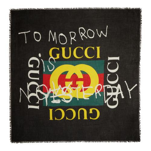 GUCCI Black 'Tomorrow' Logo Shawl