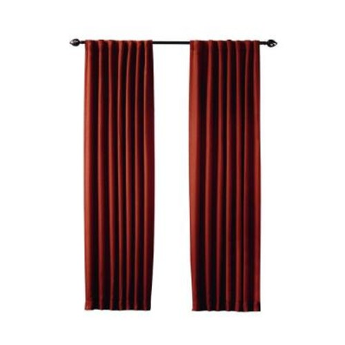 Home Decorators Collection Semi-Opaque Terracotta Tweed Room Darkening Back Tab Curtain 50 x 108