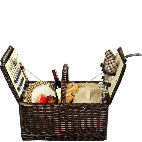 Picnic at Ascot Surrey Willow Picnic Basket with Service for 2 - London Plaid [Brown Wicker- London Plaid Plates/Napkins]