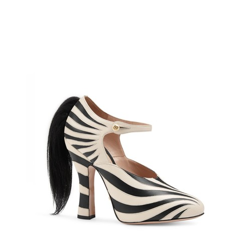 GUCCI Lesley Zebra Stripe And Goat Hair Mary Jane Pumps