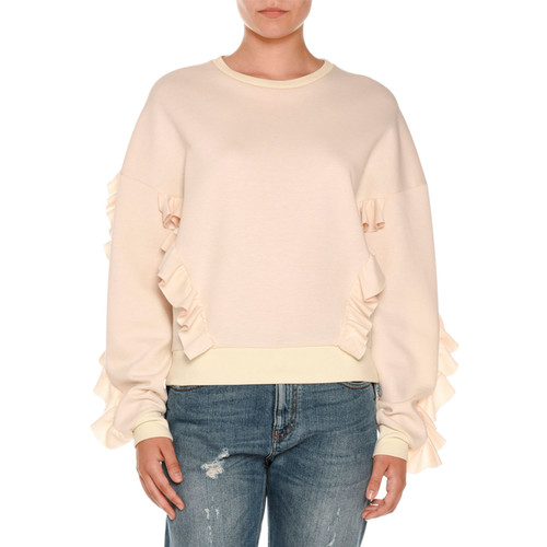 STELLA MCCARTNEY Ruffled Crewneck Sweatshirt, Ivory