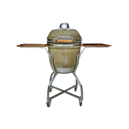 Hanover Kamado Brown Stainless Steel/Ceramic 19-inch Grill with Cart, Shelves, Grill Cover
