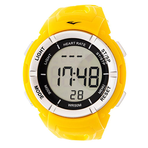 Everlast HR3 Heart Rate Monitor with Chest Strap Digital Sport Silver and Yellow Watch
