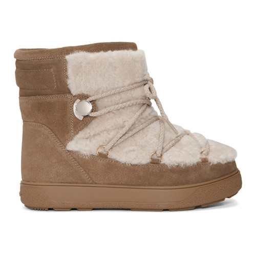 MONCLER Brown Glitter Suede & Shearling Fanny Boots
