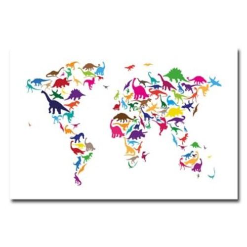 Trademark Fine Art Michael Tompsett 'Dinosaur World Map' Canvas Art 18x24 Inches
