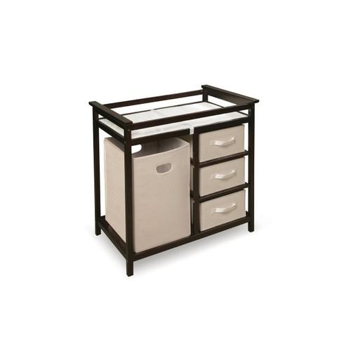 Badger Basket Modern Changing Table With Hamper/3 Baskets, Espresso