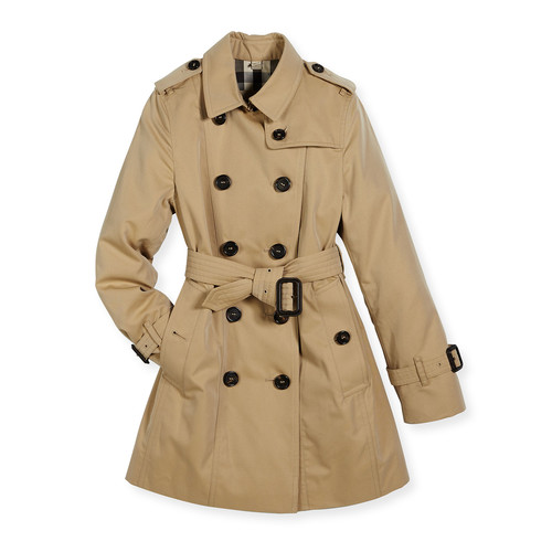 BURBERRY Double-Breasted Cotton Trenchcoat, Tan/Camel