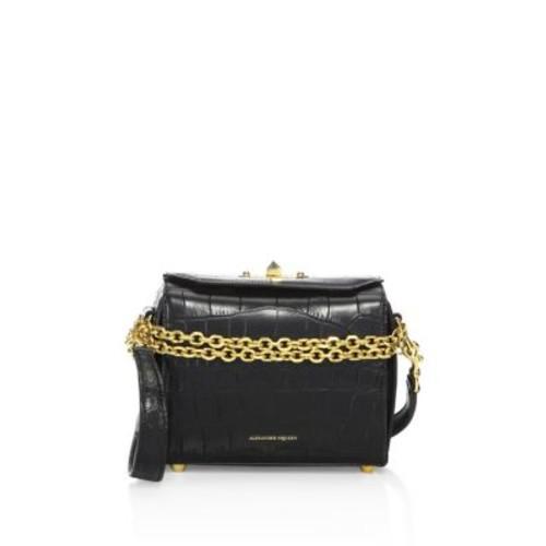 ALEXANDER MCQUEEN Box Bag 19 Croc-Embossed Leather Satchel