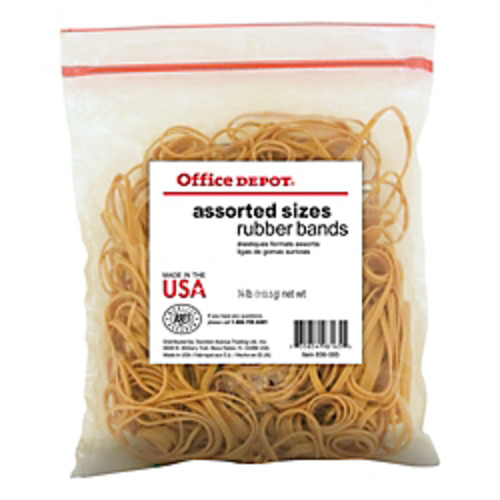 Office Depot Brand Rubber Bands, #54, Assorted Sizes, 1/4 Lb. Bag