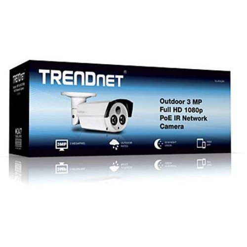 TRENDnet Indoor/Outdoor 3MP HD PoE IR Network Camera - 50m, Night Vision, Zoom, 10/100Mbps, CMOS - TV-IP312PI