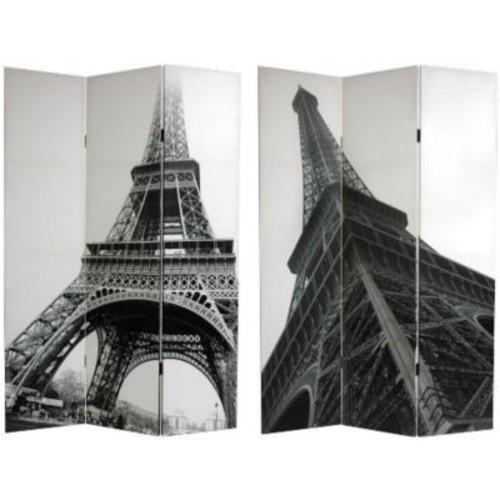 Oriental Furniture 70.88'' x 47.25'' Eiffel Tower 3 Panel Room Divider