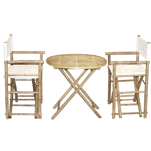 Bamboo54 Bamboo Bistro Director's Chairs and Round Table Set (Vietnam) Director's chair round set beige