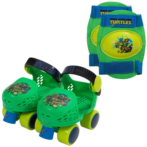 Playwheels Teenage Mutant Ninja Turtles Kids Roller Junior Size 6-12 Skates with Knee Pads