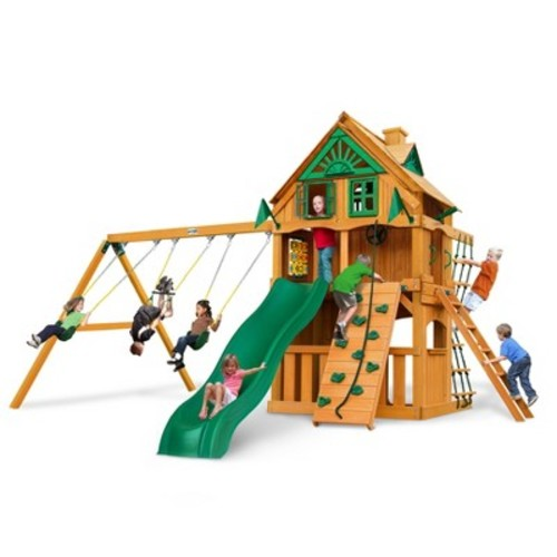 Gorilla Playsets Chateau Clubhouse Treehouse Swing Set with Fort Add-On & Amber