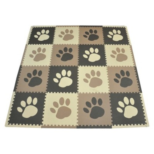 Tadpoles 16 Sq Ft Pawprint Playmat Set, Red/White/Black