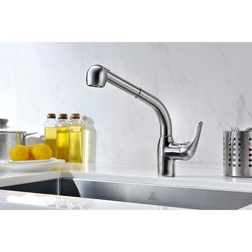 ANZZI Harbour Single-Handle Pull-Out Sprayer Kitchen Faucet in Brushed Nickel