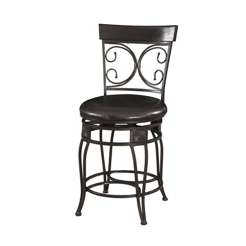 L Powell Big and Tall Back to Back Scroll Counter Stool