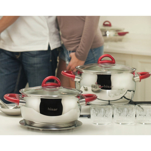 Bahama Red Stainless Steel 9-piece Non-stick Cookware Set by Hisar