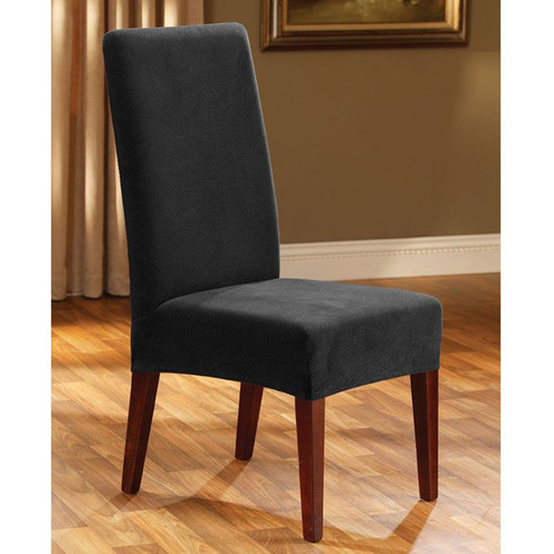 Sure Fit Stretch Pique Short Dining Room Chair Slipcover in Black
