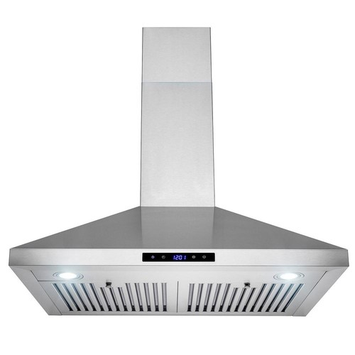 AKDY 30 in. Convertible Kitchen Wall Mount Range Hood with Lights in Stainless Steel