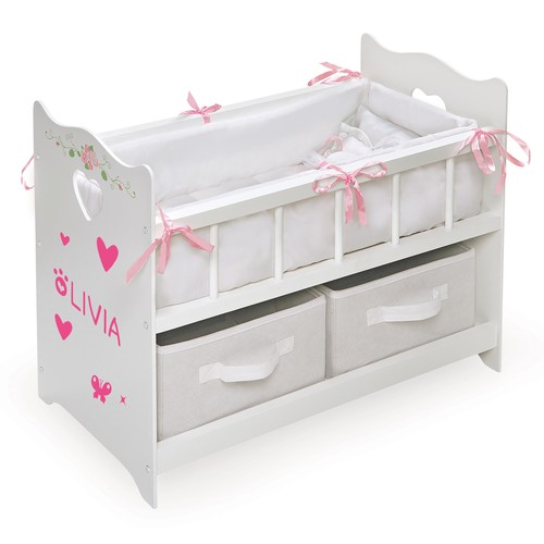 Badger Basket Doll Crib with Bedding and Two Baskets - White Rose - Fits American Girl, My Life As & Most 18