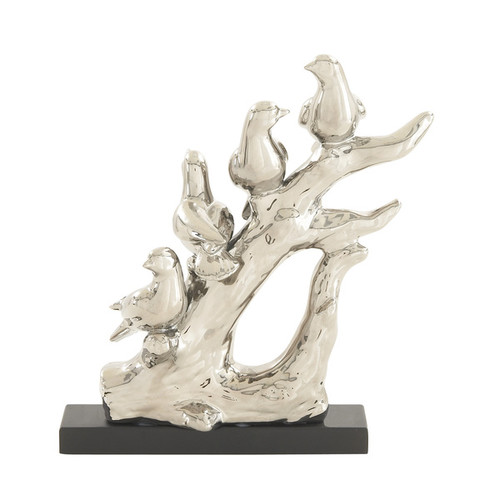 Silver Color Bird On Tree Accent Piece
