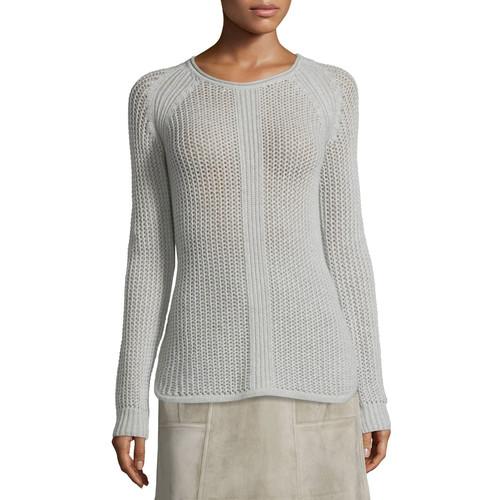 DEREK LAM Long-Sleeve Knit Cashmere Sweater, Gray