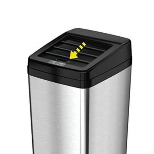 ITOUCHLESS Sliding Lid Automatic Touchless Sensor Trash Can  14 Gallon / 52 Liter u0026ndash; Stainless Steel u0026ndash; Kitchen Trash Can