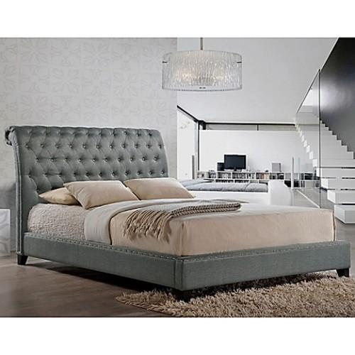 Baxton Studio Jazmin Queen Tufted Modern Platform Bed with Headboard in Grey