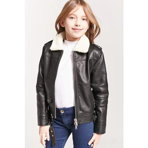 Girls Faux Shearling Moto Jacket (Kids)